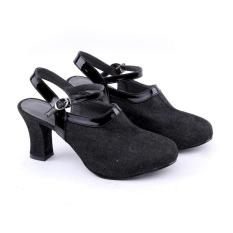 Kualitas Garucci Gbu 4235 Sepatu High Heels Party Pesta Wanita Denim Modis Black Garucci