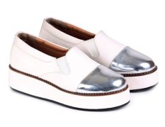 Garucci Sepatu Wedges Wanita - Kulit Asli Gok 5104 Putih Kombinasi
