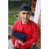 Review Toko Garuda Clutch Handbag Canvas Kulit Biru Navy
