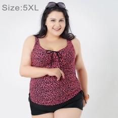 Mengumpulkan Dada Baju Renang Dua Potong Memisahkan Gaun & Celana Boxer Celana Pendek Bunga Cetak Berukuran Lebih Swimsuits untuk Wanita Gemuk, ukuran: 5XL (Magenta)-Internasional