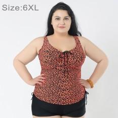 Mengumpulkan Dada Baju Renang Dua Potong Memisahkan Gaun & Celana Boxer Celana Pendek Bunga Cetak Berukuran Lebih Swimsuits untuk Wanita Gemuk, ukuran: 6XL (Oranye)-Internasional