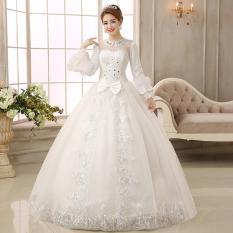 gaun pengantin import lengan panjang muslimah brokat kristal