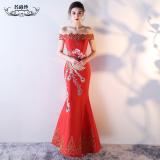 Harga Kata Perempuan Fishtail Long Bridal Dress Merah Merah Merah Online Tiongkok