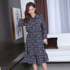 Gaun sifon bermotif bunga tipis dan bagian panjang gaun Korea (Biru tua)