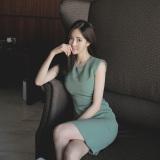 Jual Gaun Pas Badan Wanita Versi Korea Tanpa Lengan Gambar Warna Oem