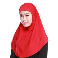 Gauze Kerchief Muslim Jilbab Muslim Syal Islam Wanita Kerchief Yang Hui Kebangsaan Head Cover Merah-Intl