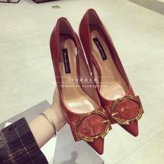 Gaya Barat Gaya Barat Kulit Paten Musim Semi Baru Sepatu Wanita Sepatu Tumit (Bata Merah)