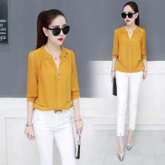 Gaya Barat Korea Modis Gaya Baru Lengan Panjang Wanita Baju Dalaman Kemeja Jersey Rayon (Kuning)