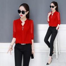 Gaya Barat Korea Modis Gaya Baru Lengan Panjang Wanita Baju Dalaman Kemeja Jersey Rayon (Merah)