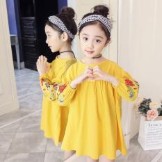 Gaya Barat Korea Fashion Style Perempuan Remaja Lengan Panjang Rok Terusan Gaun Putri (Kuning)