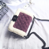 Jual Gaya Channel Bulu Bulu Wanita Baru Beludru Tas Paket Terompet Ungu Tiongkok