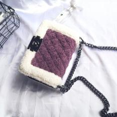 Harga Gaya Channel Bulu Bulu Wanita Baru Beludru Tas Paket Terompet Ungu Other