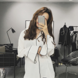 Harga Kemeja Santai Wanita Lengan Panjang Bahan Sifon Kerah V Versi Korea Warna Putih Hitam Putih Baju Wanita Baju Atasan Kemeja Wanita Blouse Wanita Baru