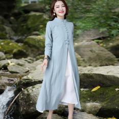 Toko Gaun Cheongsam Katun Gaya Cina Hijau Muda Dua Potong Hijau Muda Dua Potong Lengkap