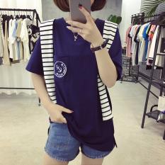Dapatkan Segera Gaya Harajuku Baru Lengan Pendek Siswa T Shirt Biru Tua Warna