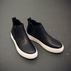 Gaya Jepang Martin Baru Sol Tebal Boots Pendek (Hitam)