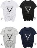 Situs Review Gaya Jepang Warna Solid Lengan Pendek Leher Bulat T Shirt Terbalik Segitiga Putih Hitam Biru Abu Abu