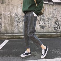 Ongkos Kirim Gaya Kampus Musim Semi Dan Musim Panas Produk Baru Sembilan Poin Celana Harem Celana Gelap Kotak Kotak Biru Baju Wanita Celana Wanita Di Tiongkok