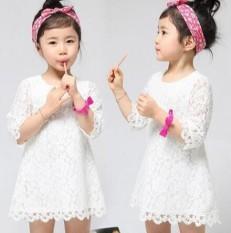 Gaya Korea Dari Anak-anak Baru Rok Gaun Renda Putih (Gaun Renda Putih)