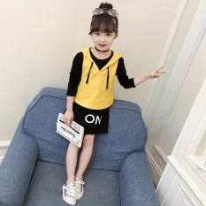 Setelan Anak Perempuan Dua Potong Sweater Gaun Versi Korea (Kuning) (Kuning)