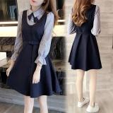 Spesifikasi Gaun Sekolah A Line Bagian Panjang Palsu Dua Gaun Wanita Gaya Korea Gambar Warna Gambar Warna Yang Bagus Dan Murah