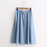 Ulasan Gaya Korea Jeans Semi Dan Musim Panas Rok Light Blue Baju Wanita Rok