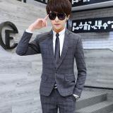 Spesifikasi Gaya Korea Musim Gugur Slim Jas Kotak Kotak Luang Pria Jas Abu Abu Lengkap