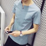Harga Gaya Korea Warna Solid Musim Panas Pria V Neck T Shirt Danau Biru Oem Baru