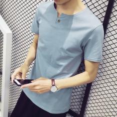 Gaya Korea Warna Solid Musim Panas Pria V Neck T Shirt Danau Biru Oem Diskon 50