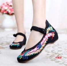Gaya Oriental Wanita Her Beijing Oleander Pakaian Adat Tiongkok Sepatu Wanita Sepatu Sepatu Angsa Emas (Phoenix Hitam)