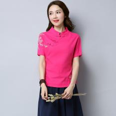 Gaya Oriental Bordir Peningkatan Ramping Teh Retro Cheongsam (Merah Mawar  Warna) f87989d162