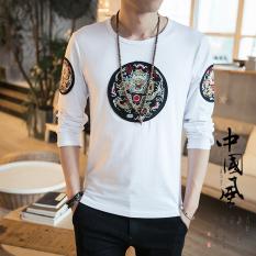 Bordir Oriental Gaya Pria Lengan Panjang Jubah Kaisar Baju Dalaman Kaos (Putih)