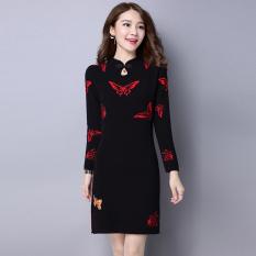Angin Cina Gaun Modis Bordir Baju Dalaman Musim Gugur atau Musim Dingin Setengah Panjang Model TJYlx001 Hitam)
