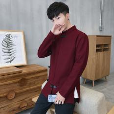 Gaya Oriental Etnis Angin Laki-laki Setengah Panjang Model Gelang Rajutan Atasan Wol Jaket Parka (Arak Anggur Warna)