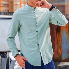Jual Gaya Oriental Kain Linen Warna Solid Muda Lengan Panjang Kemeja Kerah Stand Up Kemeja Hijau Tentara Warna Baju Atasan Kaos Pria Kemeja Pria Termurah