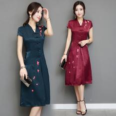 Jual Gaya Oriental Retro Musim Panas Sehari Hari V Neck Pakaian Arak Anggur Warna Baju Wanita Dress Wanita Gaun Wanita Other Ori