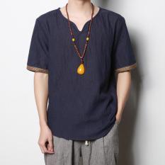 Jual Gaya Oriental Sederhana Kain Linen Lengan Pendek T Shirt Biru Tua Baju Atasan Kaos Pria Kemeja Pria Other Di Tiongkok