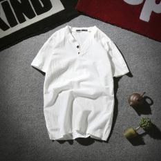 Gaya Oriental Sepatu Linen Musim Panas Baru Lengan Pendek T-shirt (Putih) baju atasan kaos pria kemeja pria