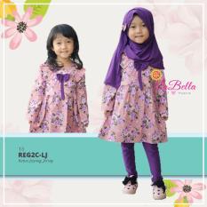 Gaya Si Kecil Baju Muslim Anak Cewek Perempuan Ungu Bunga Flower Cantik Plus Jilbab Kerudung