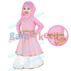 Gaya Si Kecil Baju Muslim Gamis plus Jilbab Pasmina Cantik anak cewek perempuan Impor Soft Pink Gleoite wardrobe
