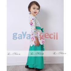 Gaya Si Kecil baju muslim setelan anak cewek perempuan impor Hijau Tosca cantik impor L Nice owl