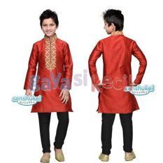 Gaya Si Kecil Baju Muslim setelan KOko Anak cowok LAki Impor Senshukei branded merah keren celana jeans jins india
