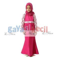Gaya Si Kecil Gamis peplum Baju Muslim Pink Merah Fanta Anak L Nice Impor anak cewek perempuan
