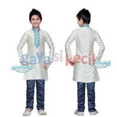 Gaya Si Kecil Setelan baju Muslim koko india jeans anak laki cowok impor putih strip biru senshukei india
