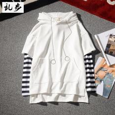 Harga Gd Ayat Yang Sama Angin Longgar Bergaris Pria Jaket Berkerudung Sweater 613 Bergaris Lengan Sweater Putih Yang Bagus