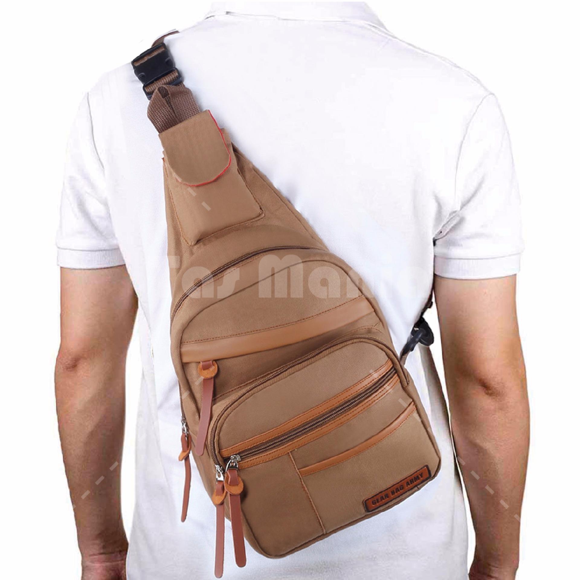 Produk Terlaris Tas Pria Selempang Import Bahu Polo Slempang Army T1 Gear Bag Slingbag Air Force Brown Messenger
