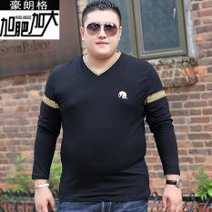 Gemuk Tambah Beludru Laki-laki Remaja Leher-v Baju Musim Gugur Kaus (Hitam)