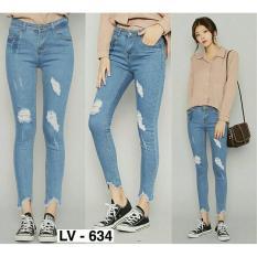 geniefashion, celana jeans wanita gaya sobek terbaru higth quality