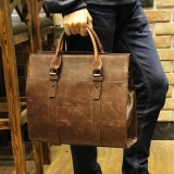 Jual Genuine Cowhide Leather Tote Handbag Male Bag Men Casual Satchel Business Bag Briefcase Portable Bag Coffee Intl