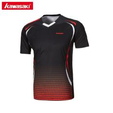 Model Asli Kawasaki St 171005 Pria T Shirt V Leher Lengan Pendek Bulutangkis Kemeja Tenis T Shirt Untuk Male Olahraga Luar Ruangan Sportswear Hitam Intl Terbaru